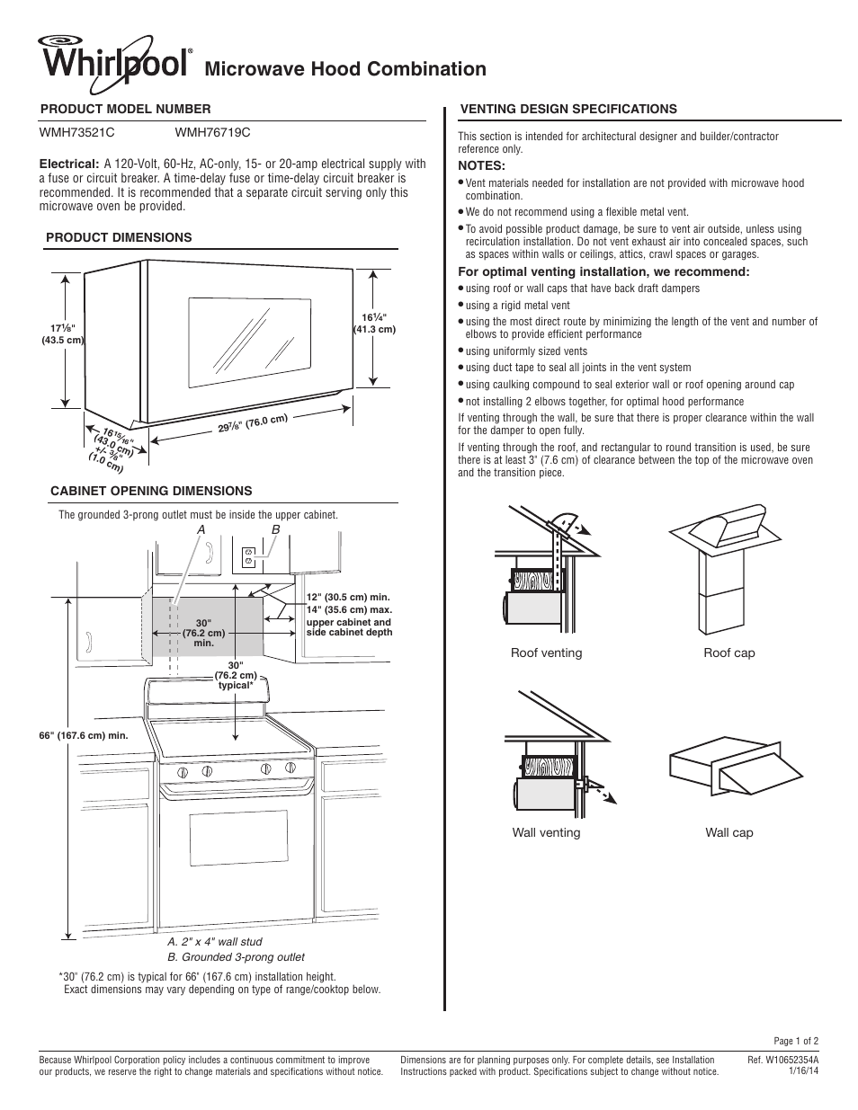 Whirlpool Wmh73521cs User Manual 2 Pages Also For