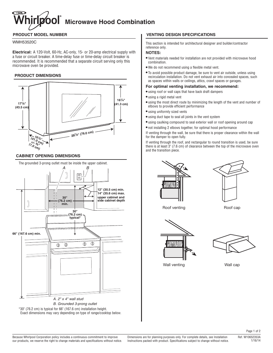 Whirlpool Wmh53520cs User Manual 2 Pages