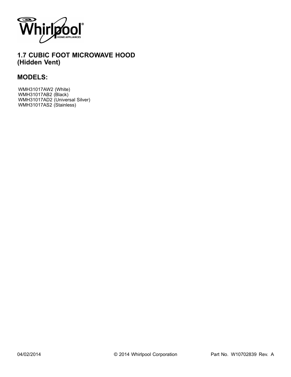 Whirlpool Wmh31017as User Manual 13 Pages