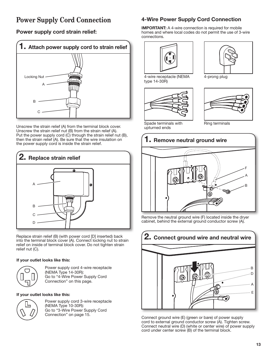 Power Supply Cord Connection Whirlpool Wed7500vw User Manual 4 Wire Dryer Diagram Page 13 24