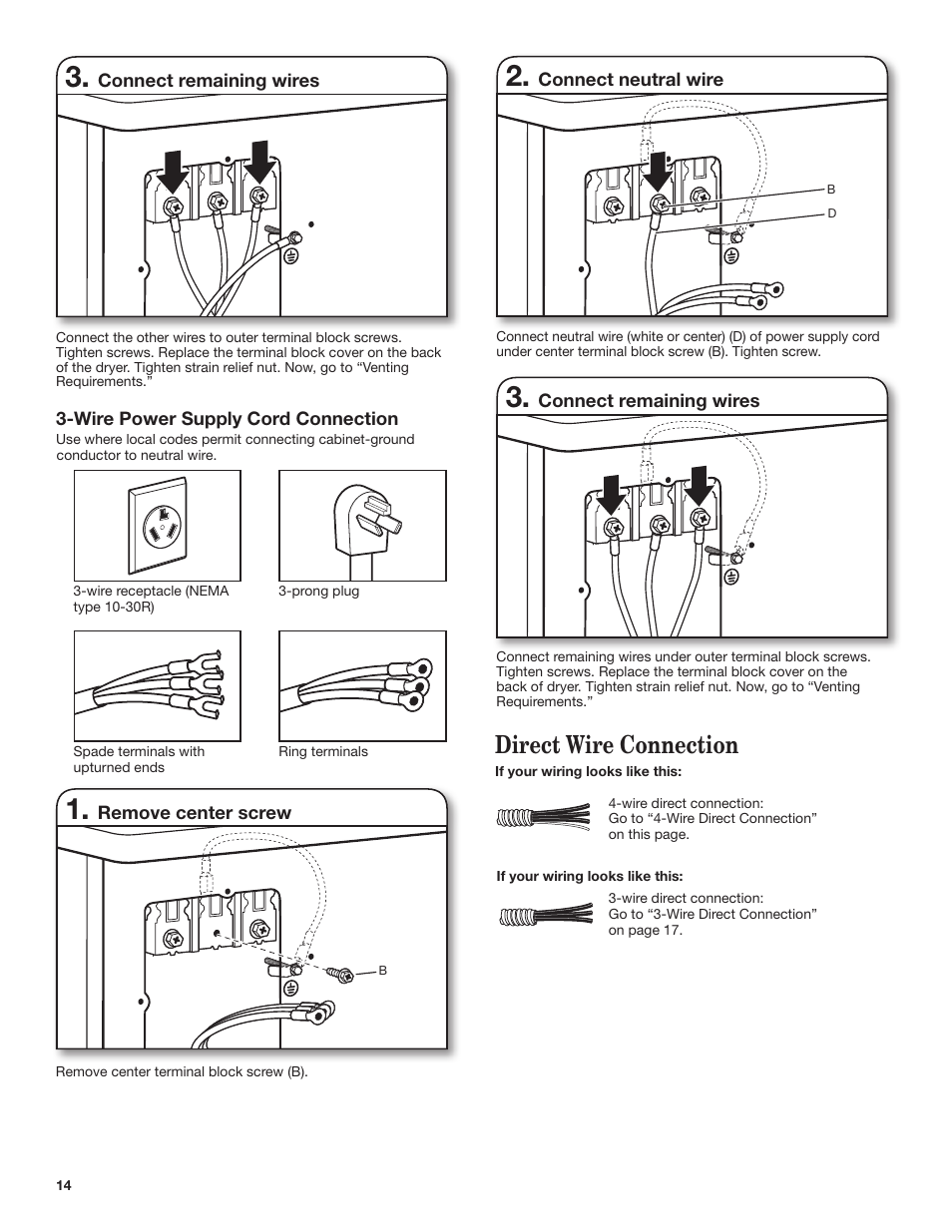 Direct Wire Connection Whirlpool Wed7500vw User Manual Page 14 24 4 Dryer Diagram