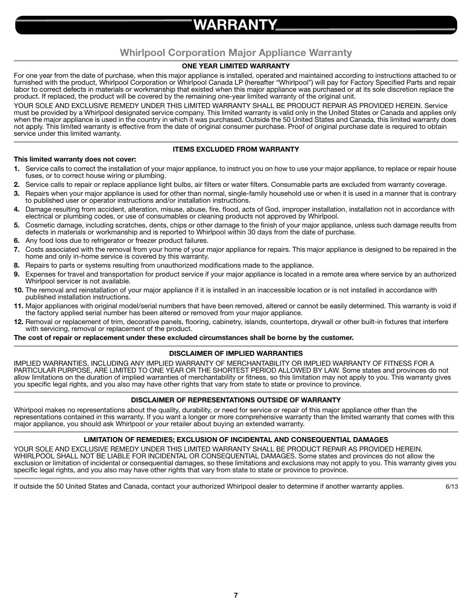 Warranty Whirlpool Corporation Major Appliance Warranty