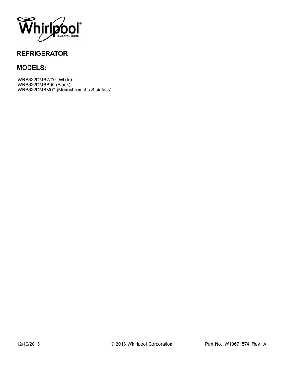 Whirlpool Refrigerator Schematic Diagram