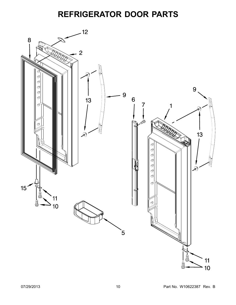 refrigerator door  refrigerator door parts whirlpool Whirlpool Refrigerator Parts Diagram whirlpool refrigerator parts manual