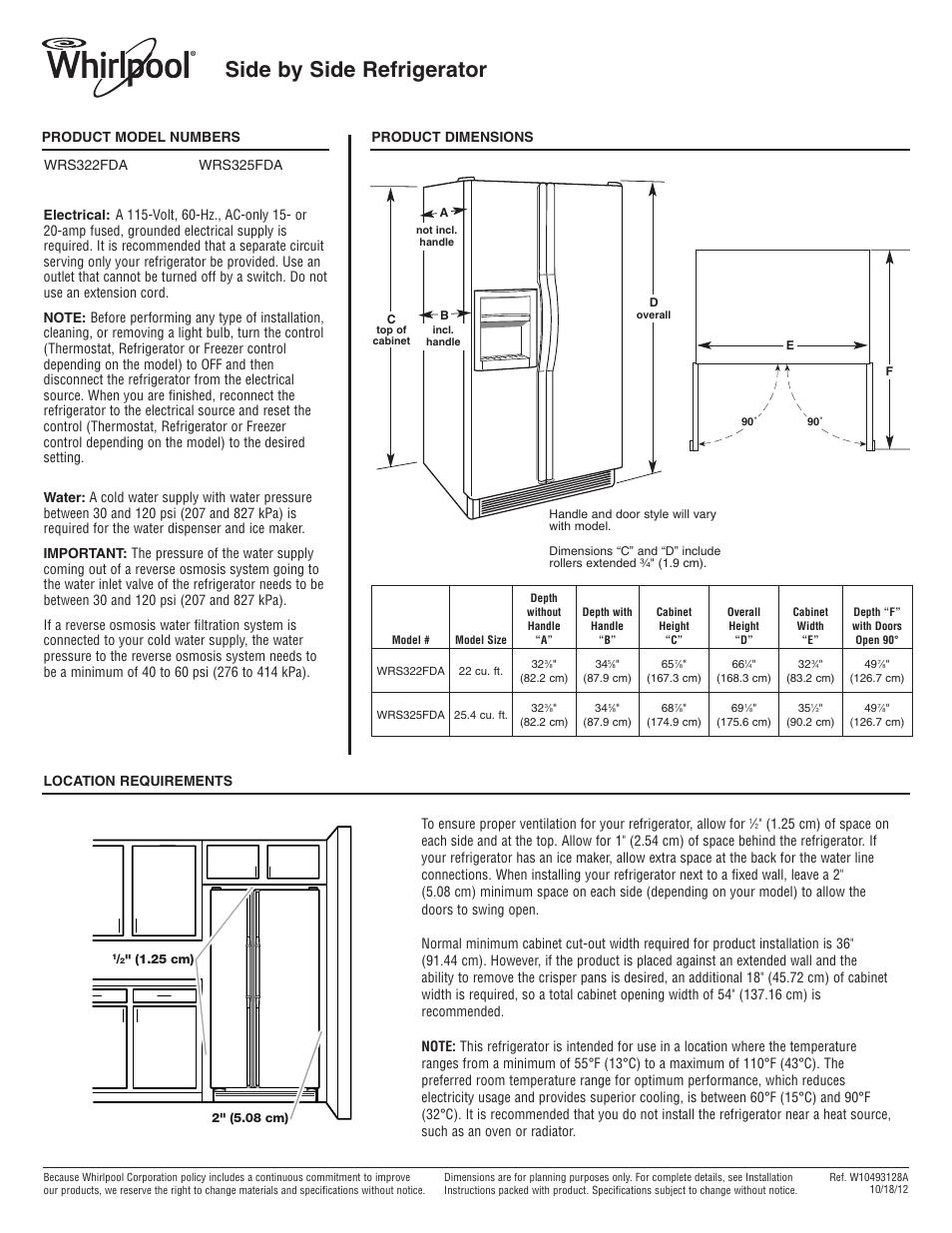 whirlpool wrs322fdam user manual