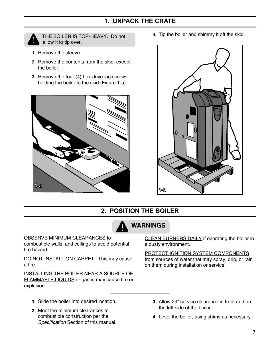 beautiful unpack the crate position the boiler warnings burnham es user  manual page with burnham gas boiler manual
