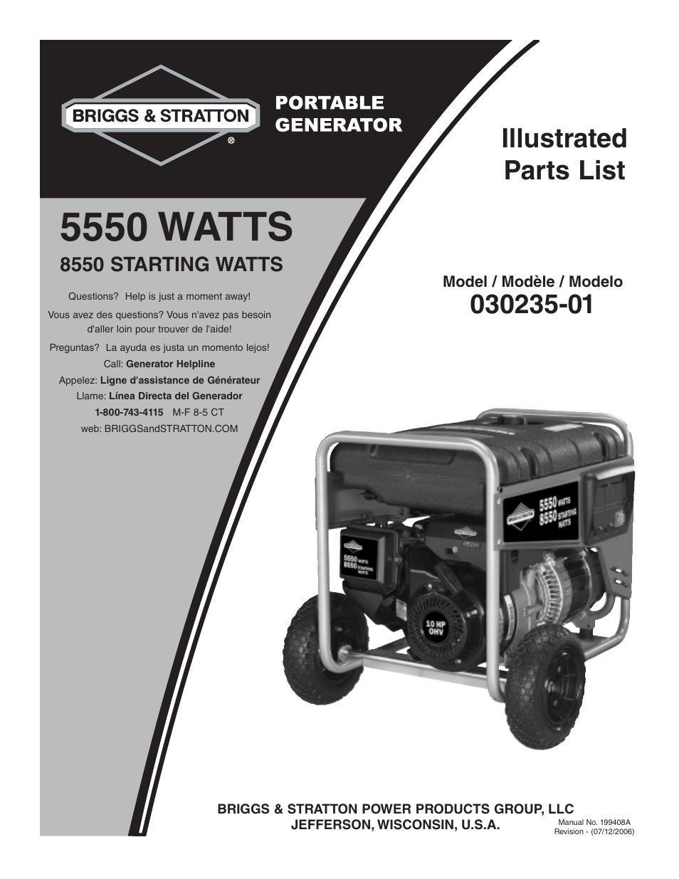 briggs stratton 030235 01 user manual 6 pages rh manualsdir com briggs and stratton storm responder 5500 watt generator manual briggs and stratton wheelhouse 5550 generator parts