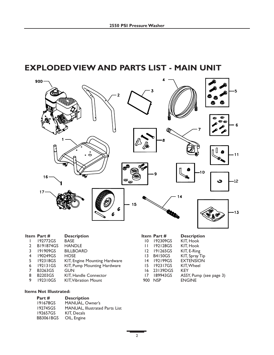 Exploded view and parts list - main unit | Briggs & Stratton 01936 User  Manual | Page 34 / 35