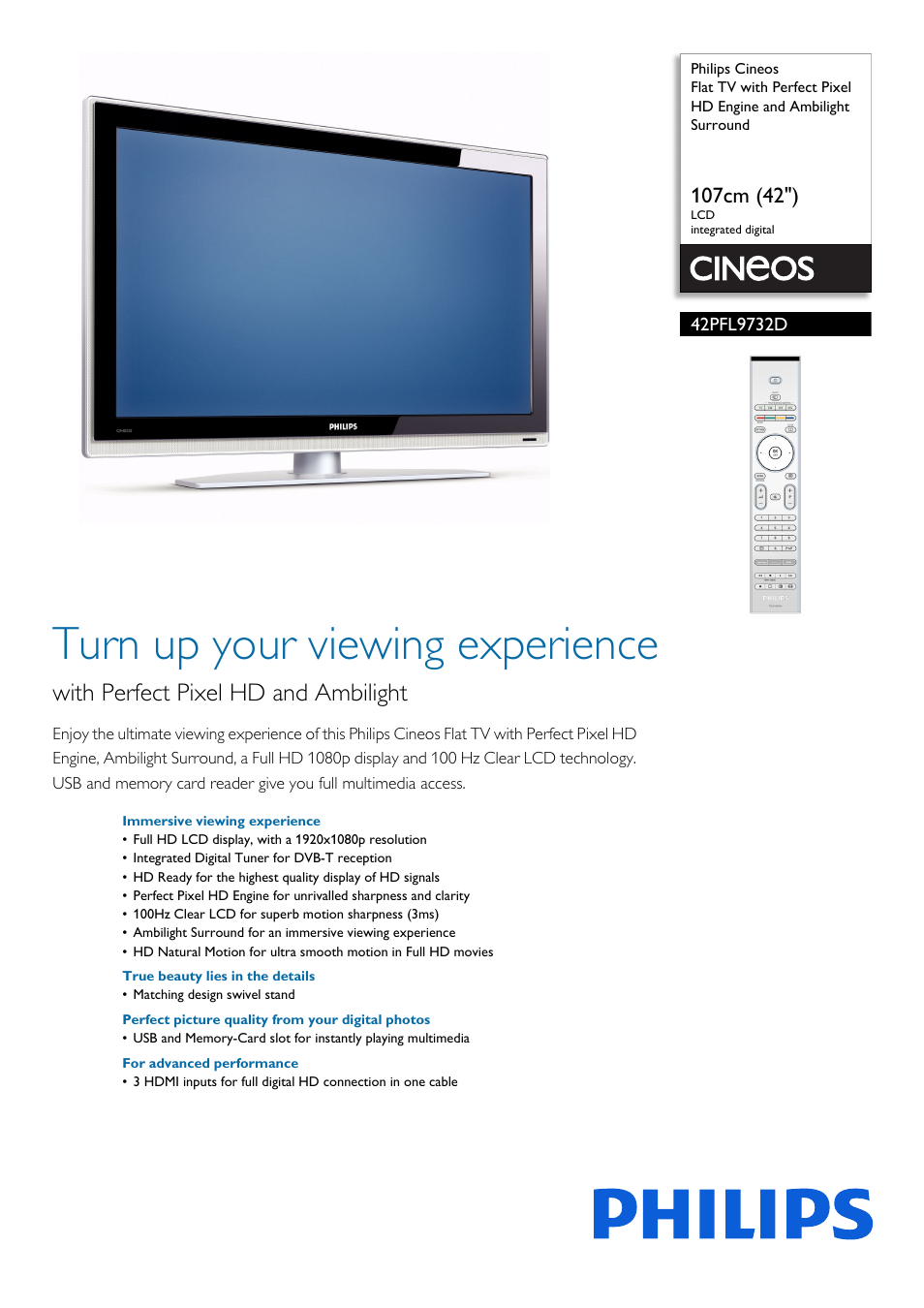 Philips Cineos Flat TV User Manual | 3 pages