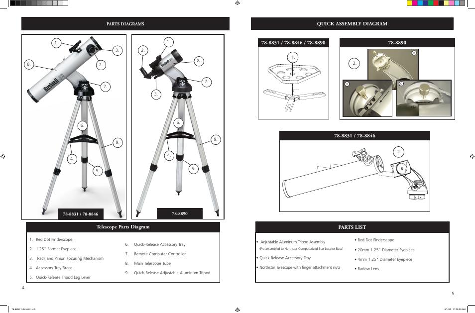 Parts list quick assembly diagram telescope parts diagram