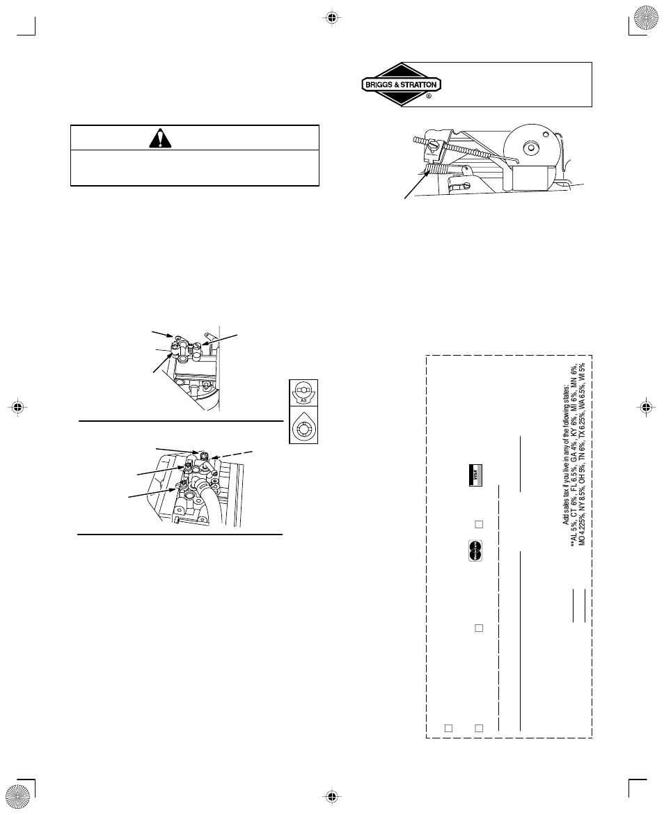 Adjustments Warning Carburetor Adjustment Briggs Stratton And Engine Diagram Parts List For 350000 User Manual Page 15