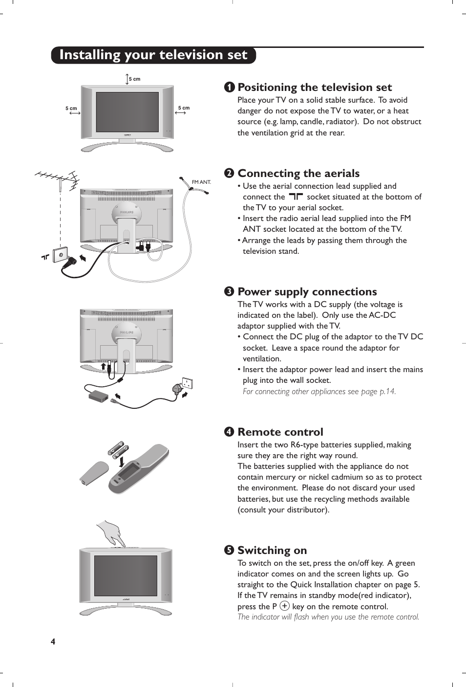 Installing your television set, Positioning the television set