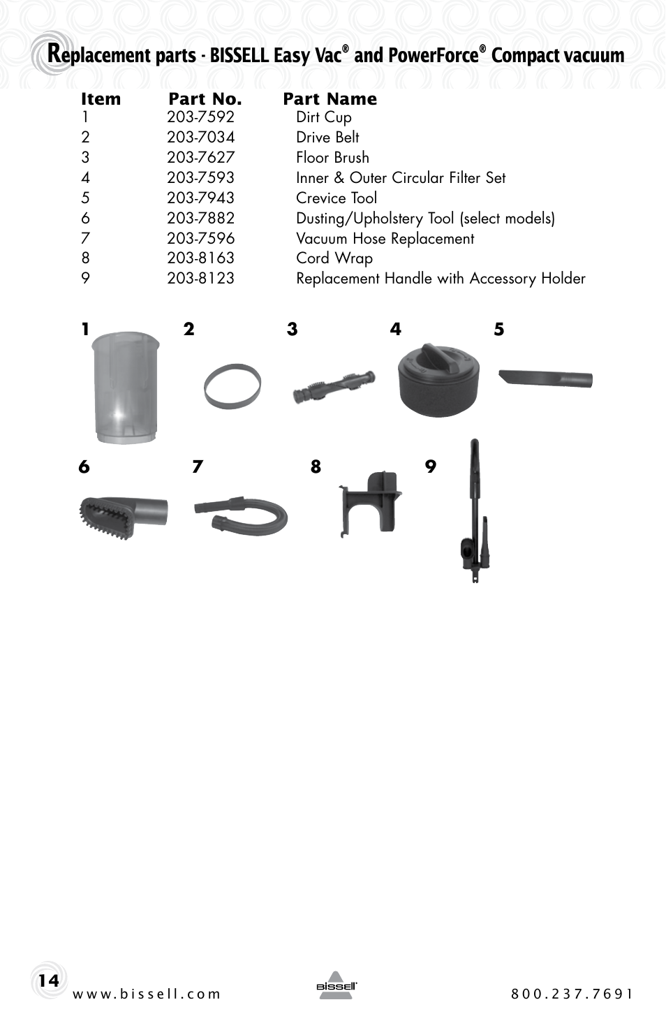 Bissell Compact powerforce 23T7 Parts Vacuum Parts & Accessories ...