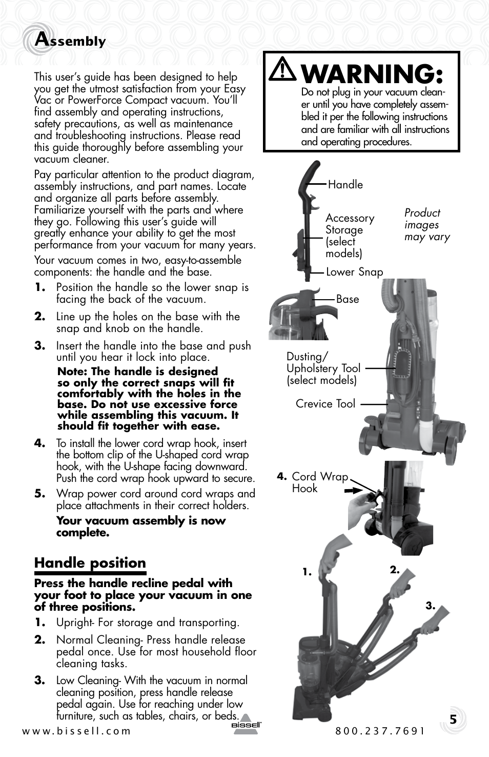 Warning Handle Position Bissell Powerforce Compact 23t7 Series User Manual Page 5