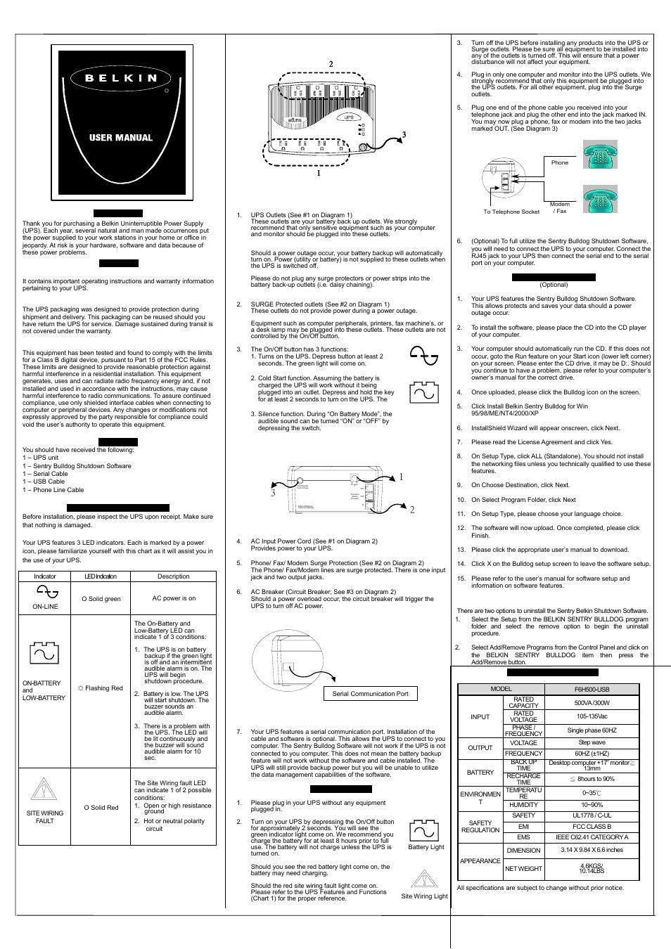 Belkin F6H650-SER User Manual | 2 pages | Also for: F6H500-SER, F6H500-USB,  F6H350-SER