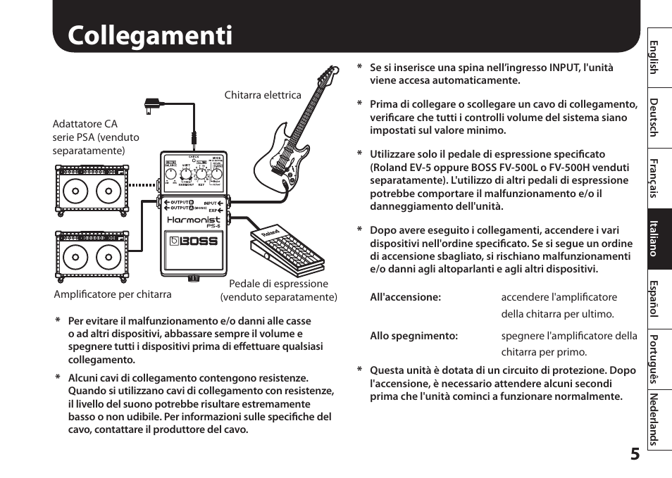 collegamenti boss audio systems harmonist ps 6 user manual page rh manualsdir com Boss PS-6 Used Pedal Boss PS 6