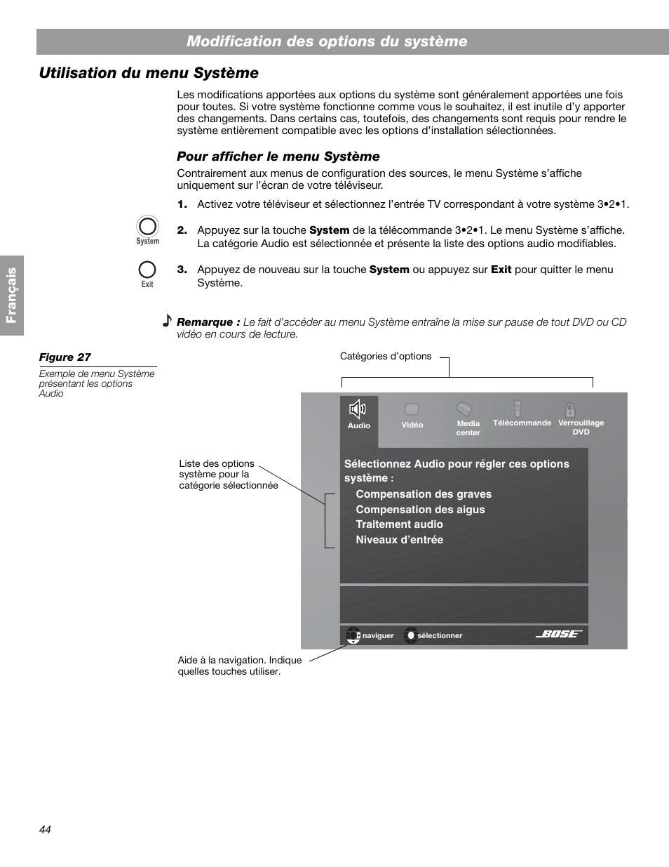 fr an a is pour afficher le menu syst me bose 3 2 1 gs series ii rh manualsdir com Bose 321 GSX Series 2 Bose 321 GSX Series 2