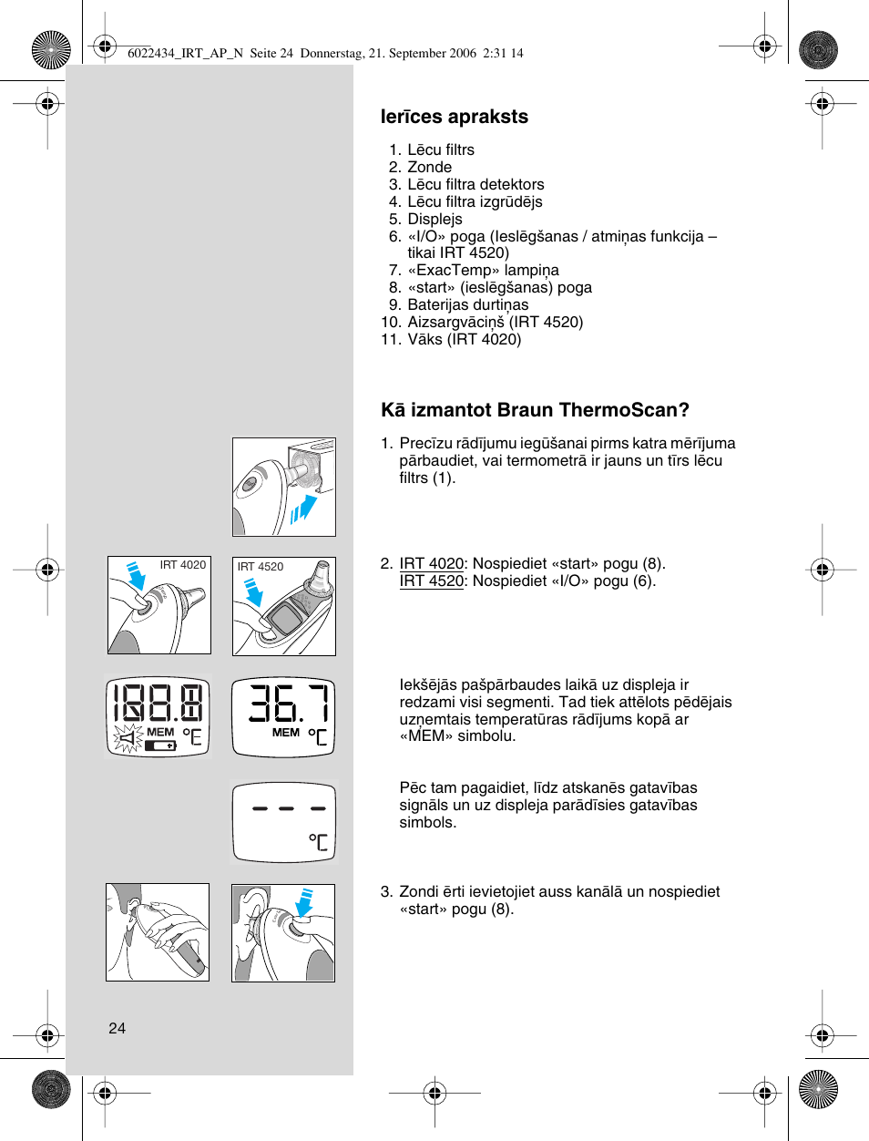 4520 Thermoscan Thermometer Instruction Manual Manual Guide