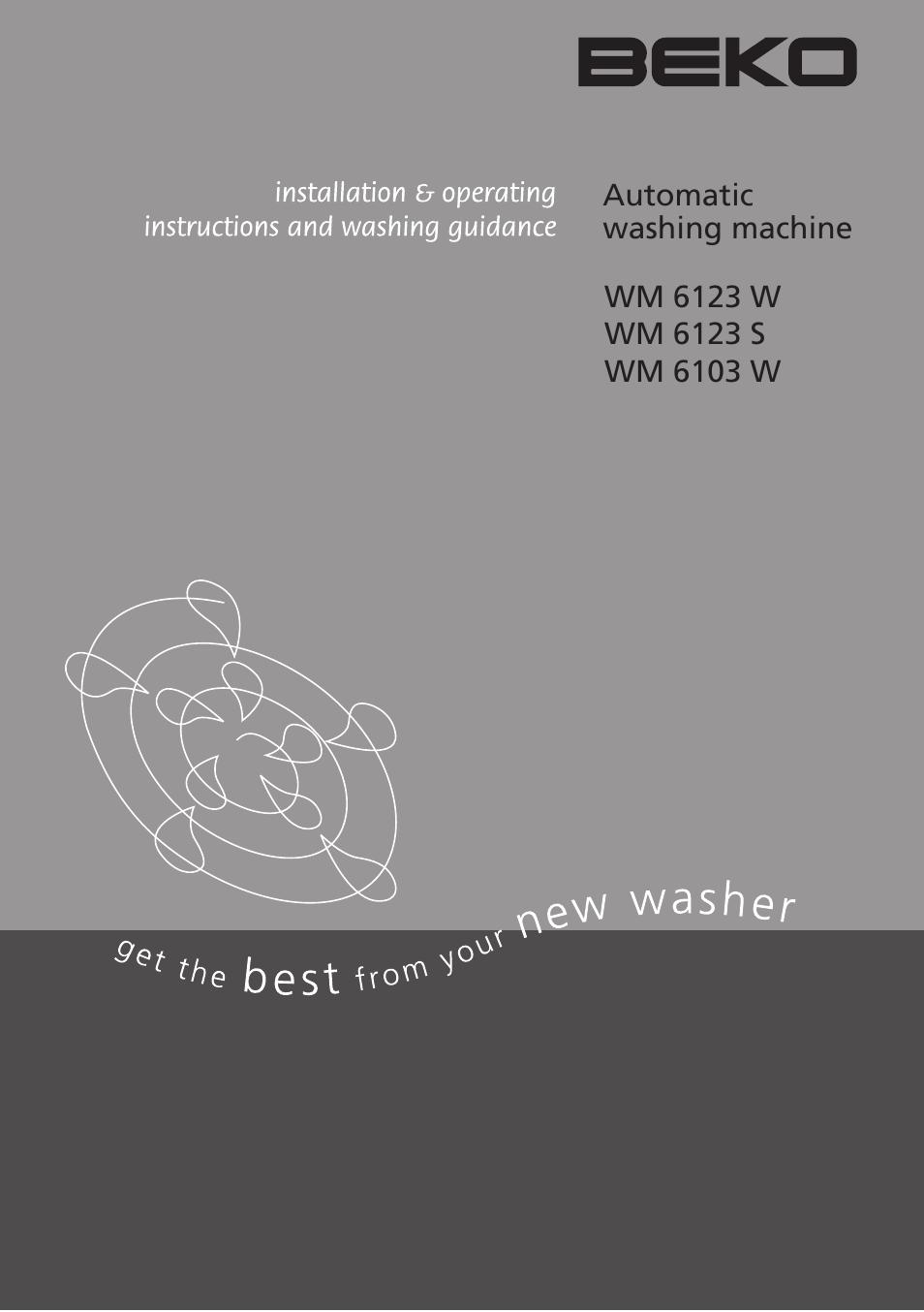 beko wm 6123 s user manual