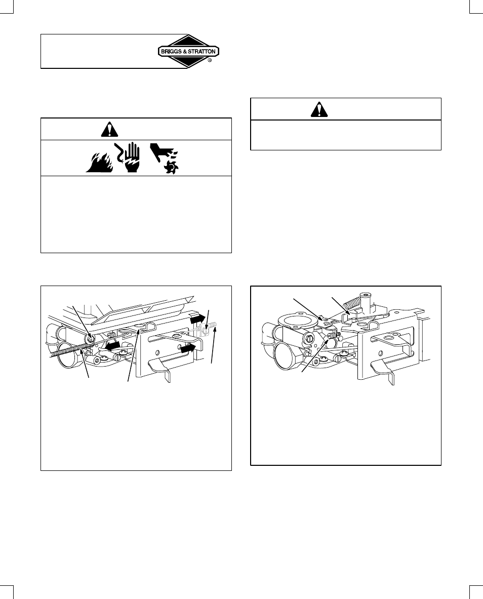 10 Hp Briggs Carburetor Diagram Wiring Schematic Adjustments Throttle Adjustment Warning Stratton 91200 User Manual Page 14 20