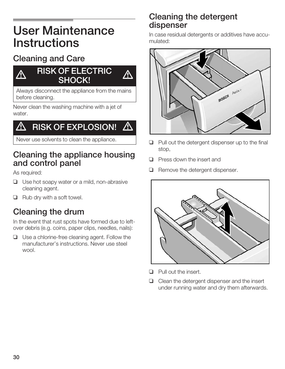 user maintenance instructions cleaning and care risk of electric rh manualsdir com bosch axxis owners manual bosch axxis dryer user manual