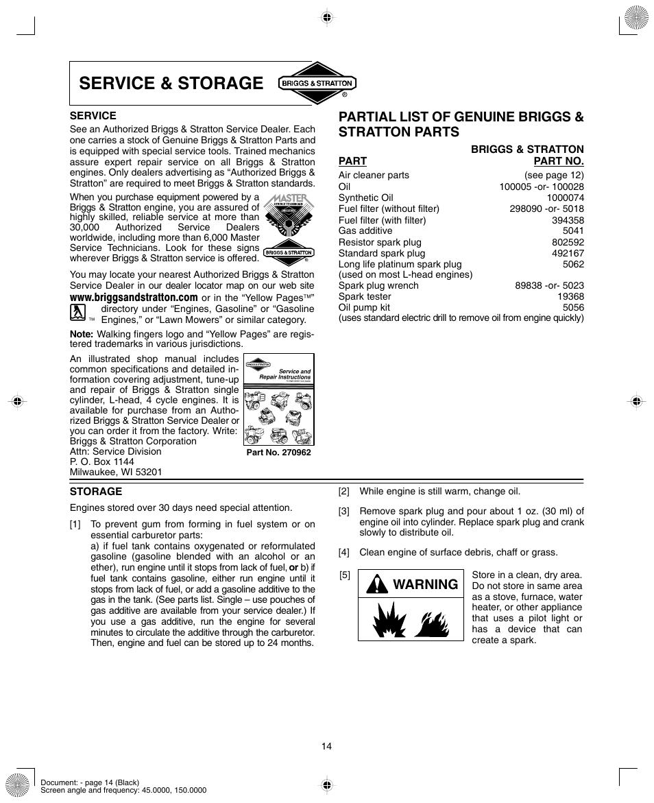 Briggs and stratton service manuals array service u0026 storage partial list of genuine briggs u0026 stratton parts rh manualsdir com fandeluxe Gallery