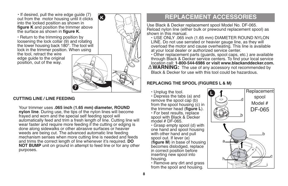 Replacement accessories, Df-065 | Black & Decker GH710 User
