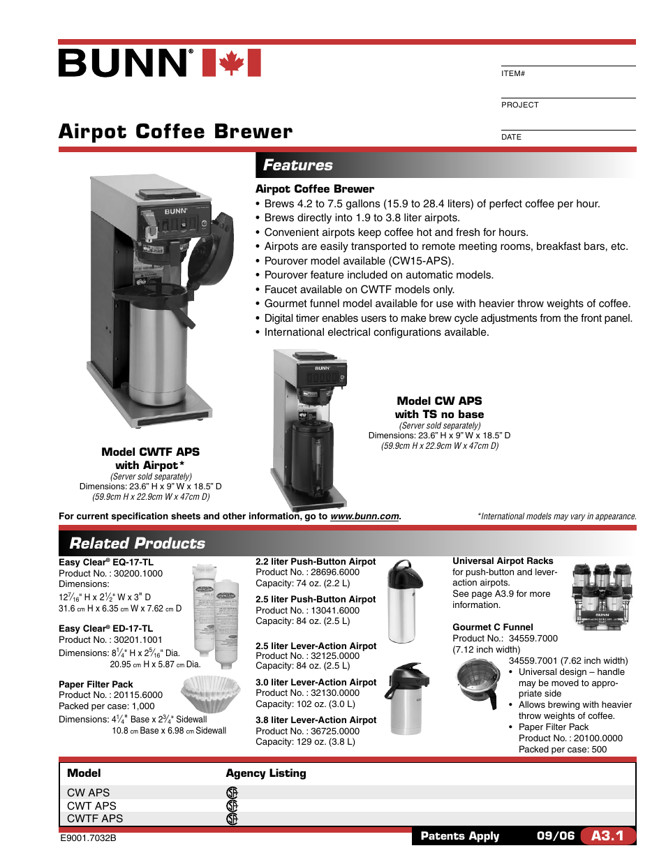 Bunn cw15 aps commercial airpot coffee brewer seattle.
