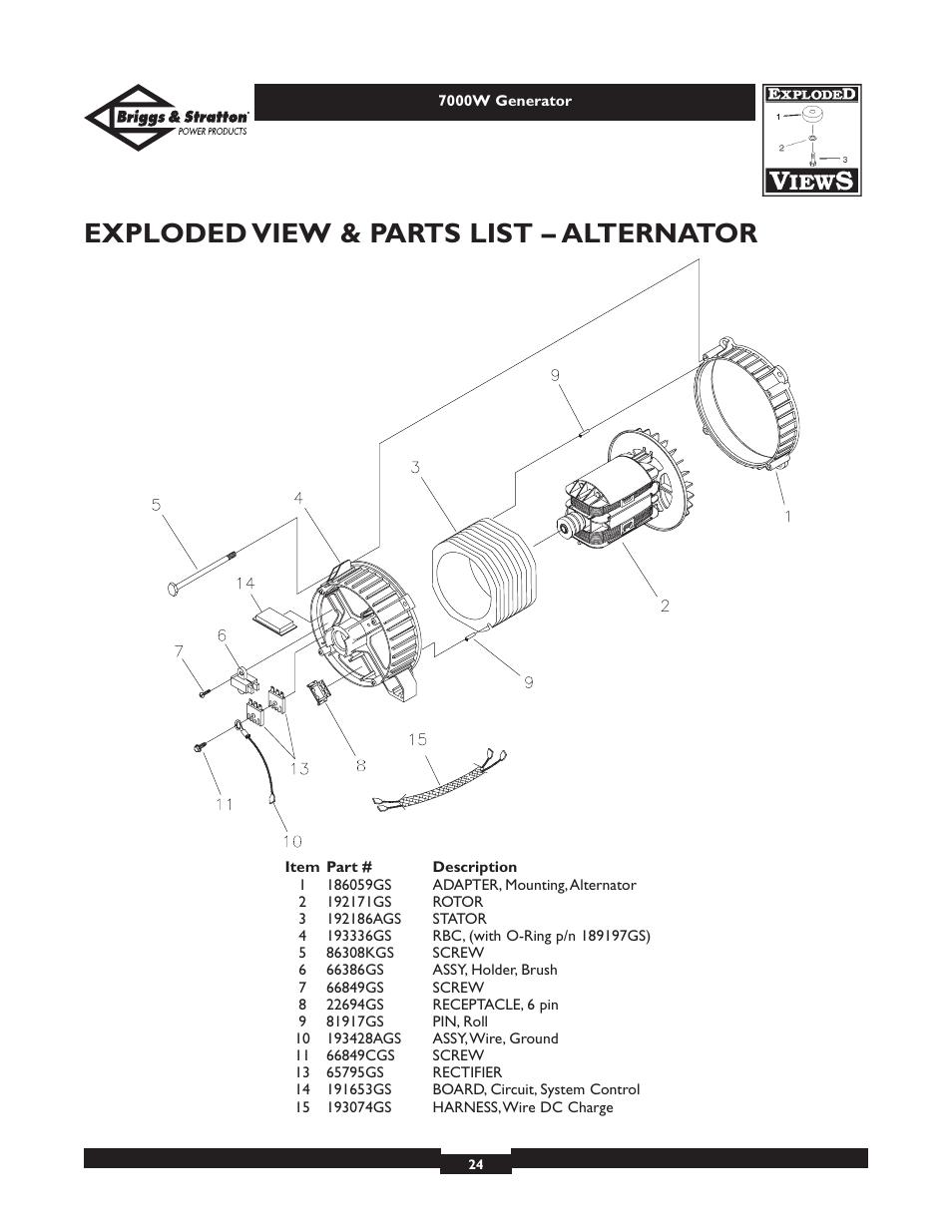 exploded view parts list alternator briggs stratton elite rh manualsdir com