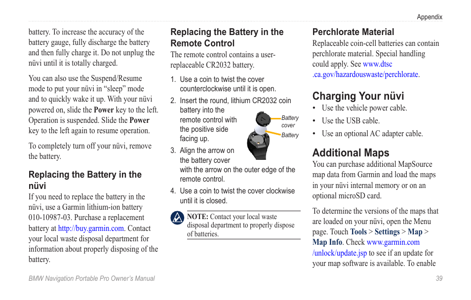 Charging your nüvi, Additional maps | BMW Navigation