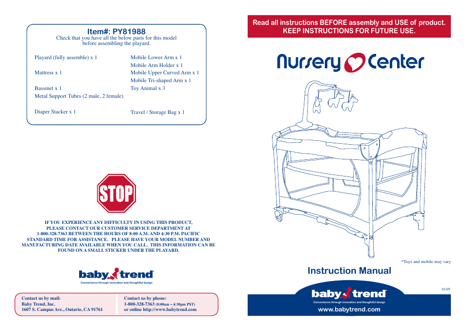 Baby Trend Nursery Center Py81988 User Manual 6 Pages