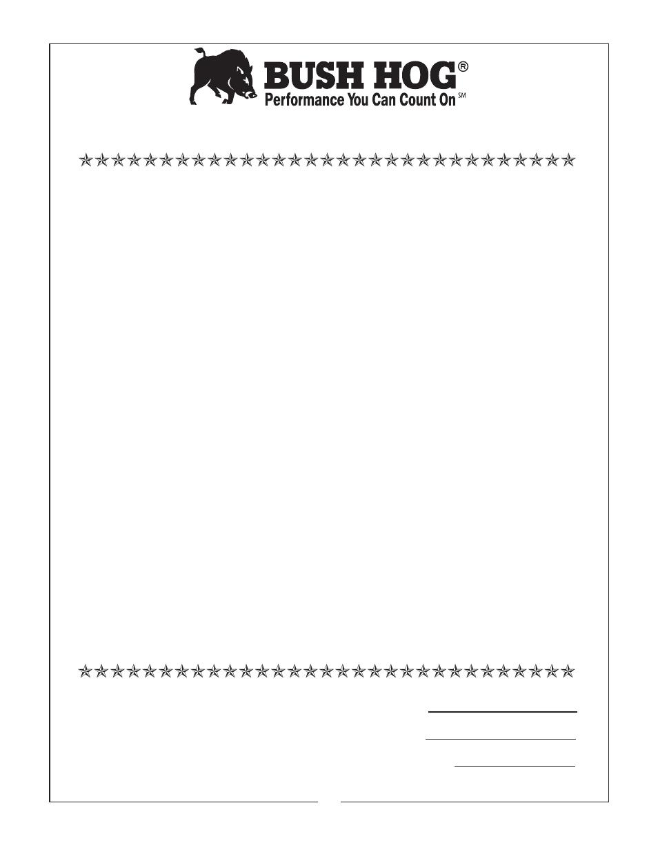 Limited warranty | Bush Hog EFM 480/600 User Manual | Page 4 / 20