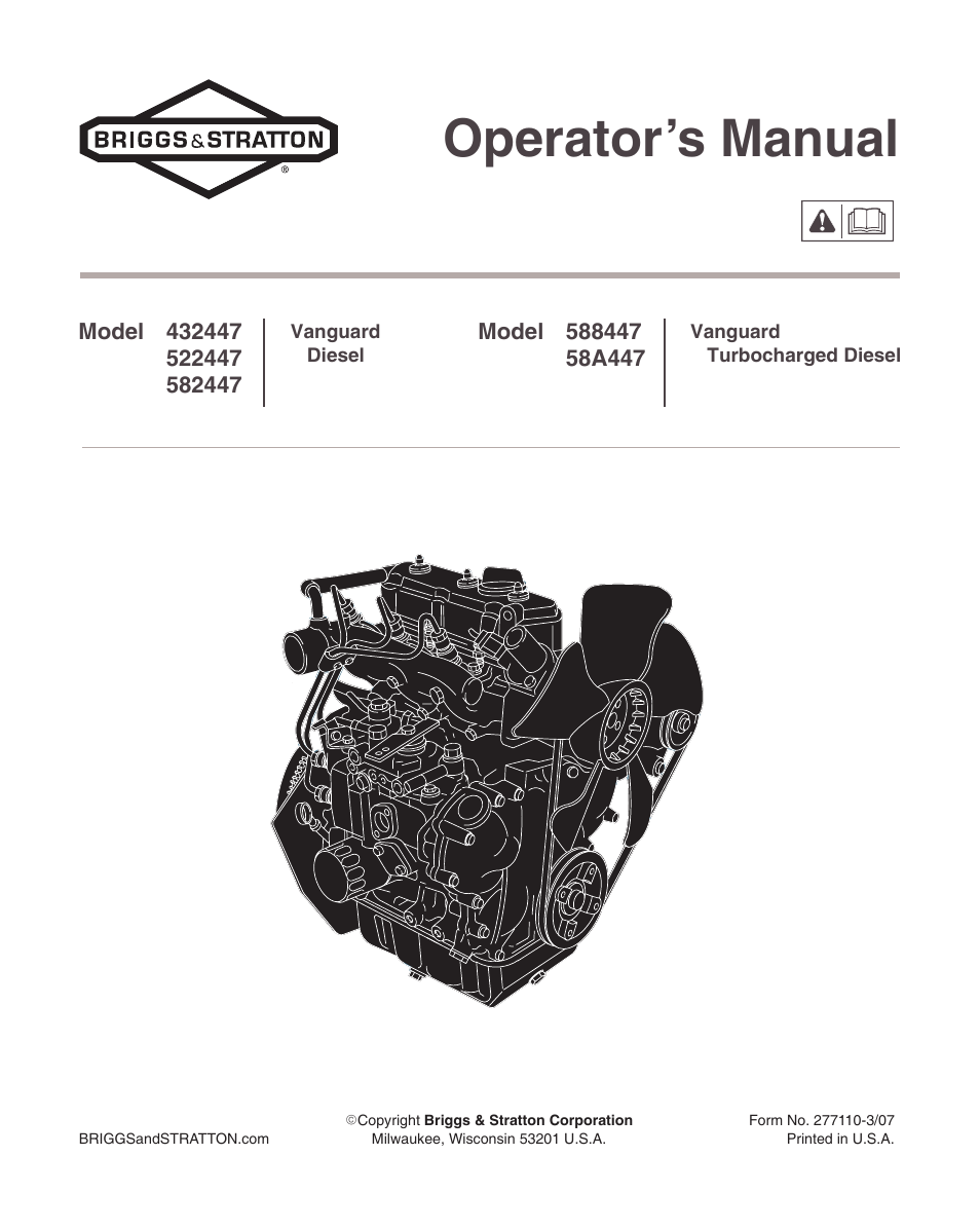briggs  u0026 stratton vanguard 582447 user manual
