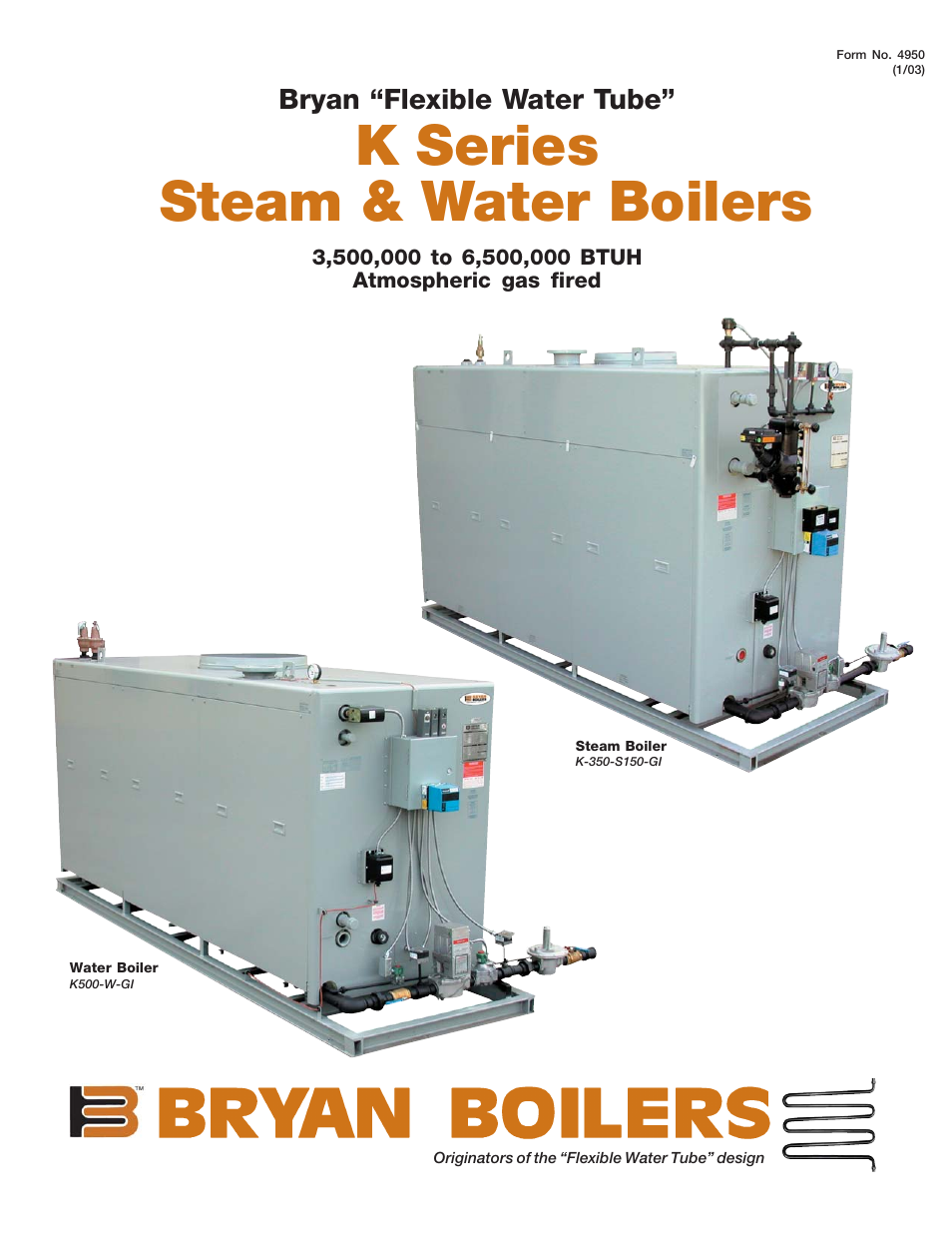 Bryan Boilers K500-W-GI User Manual | 4 pages | Also for: K-350-S150-GI