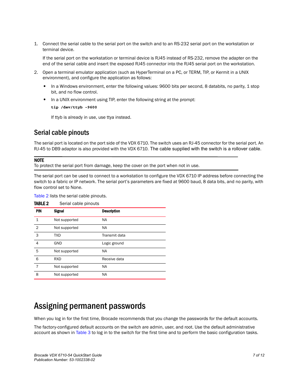 Serial Cable Pinouts Assigning Permanent Passwords Brocade Schematic Communications Systems Vdx 6710 54 User Manual Page 7 12