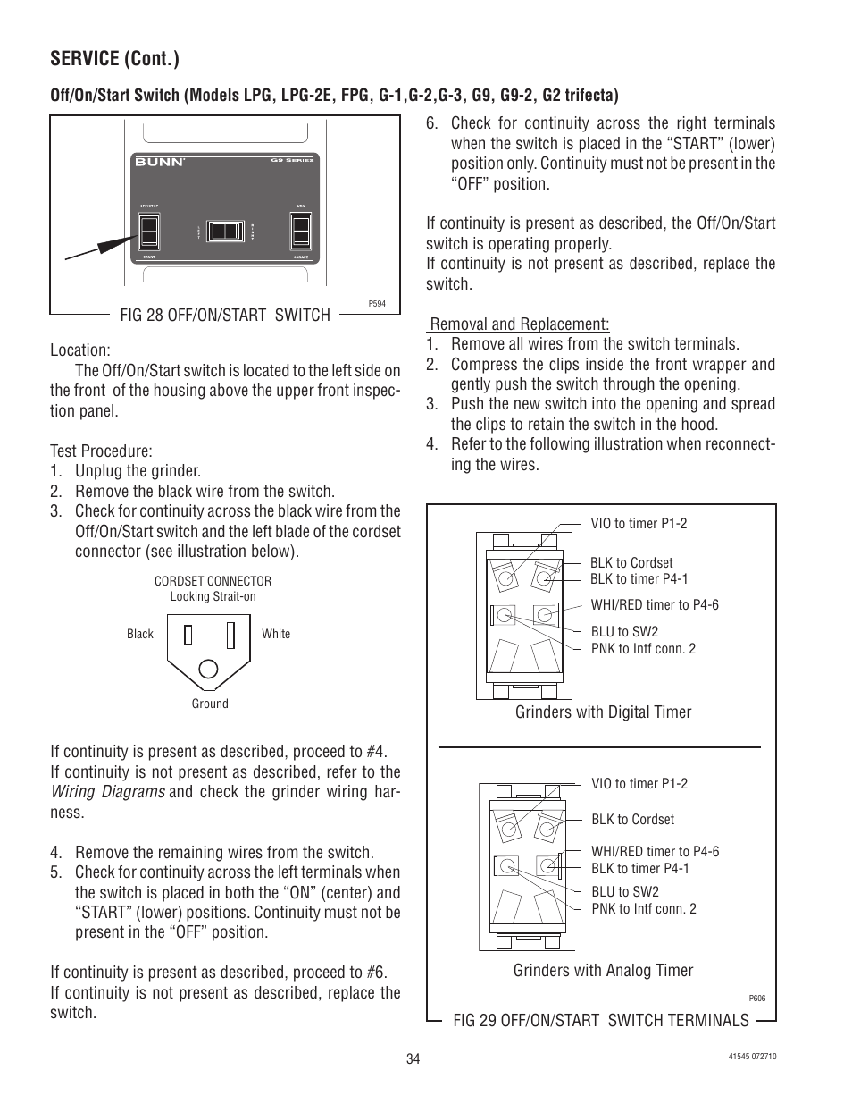 Service (cont.) | Bunn G9-2T DBC User Manual | Page 34 / 79 ... on switch wiring diagram, motor wiring diagram, contactor wiring diagram, tachometer wiring diagram, i/o module wiring diagram, remote control wiring diagram, ac drive wiring diagram, software wiring diagram, controller wiring diagram, refrigerator wiring diagram, hour meter wiring diagram, power wiring diagram, thermocouple wiring diagram, battery charger wiring diagram, plc wiring diagram, sensor wiring diagram, heater wiring diagram, toaster oven wiring diagram, control panel wiring diagram, heating element wiring diagram,