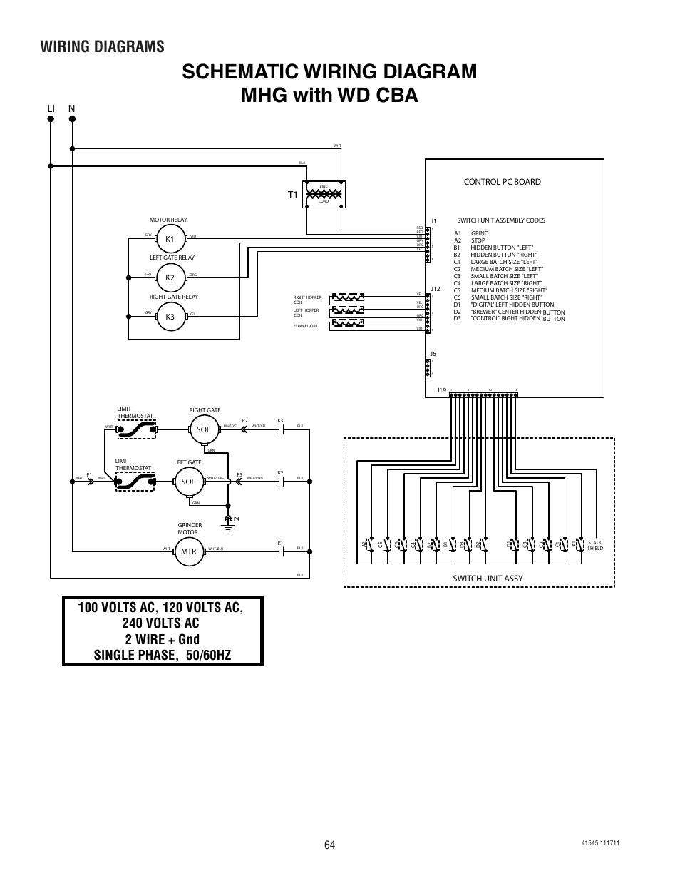 Schematic wiring diagram mhg with wd cba, Wiring diagrams, Li n | Bunn  G9-2T DBC User Manual | Page 64 / 79