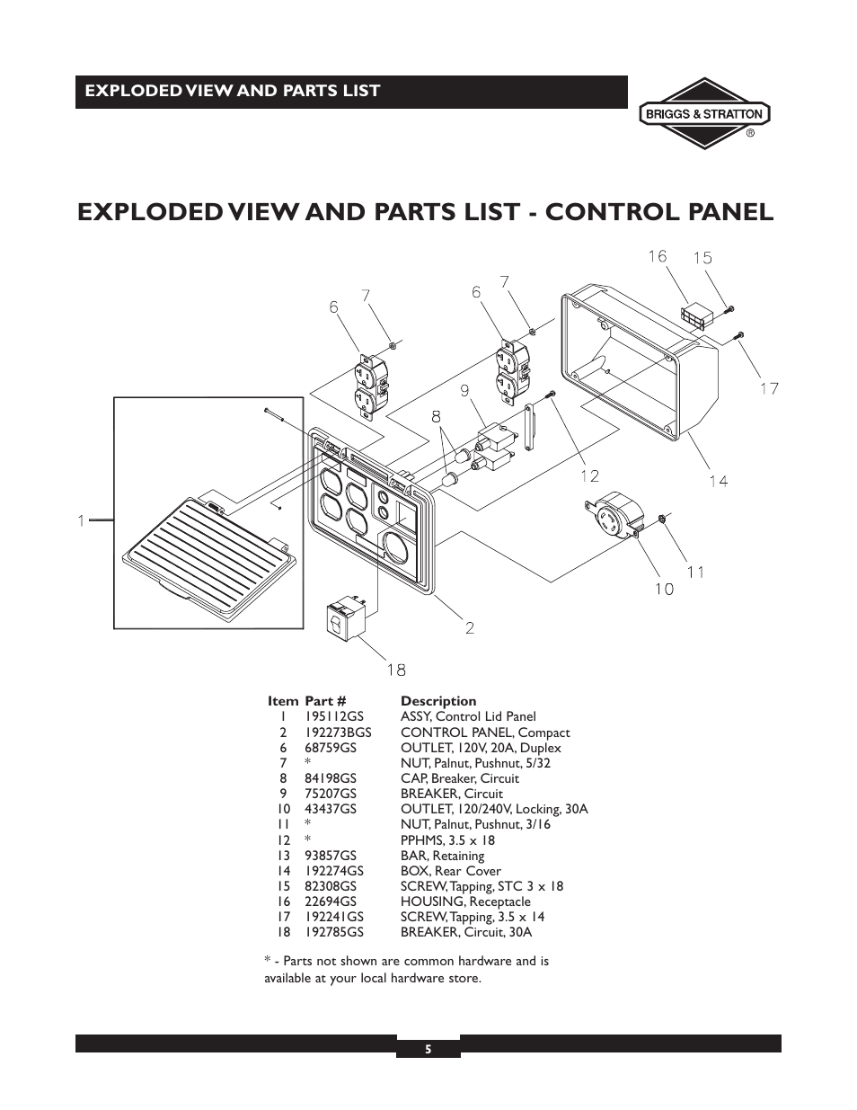 6 5 Briggs And Stratton Parts Diagram Trusted Wiring Diagrams 18 Hp Intek Engine Exploded View List Control Panel
