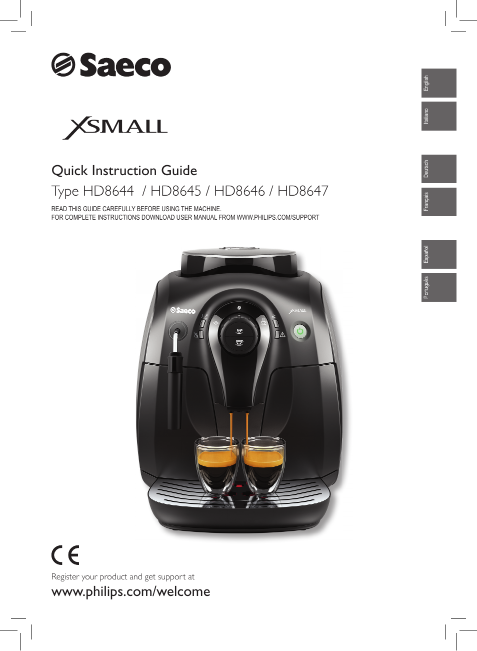 philips saeco xsmall machine espresso super automatique user manual rh manualsdir com New Balance Manuals User Guide Icon
