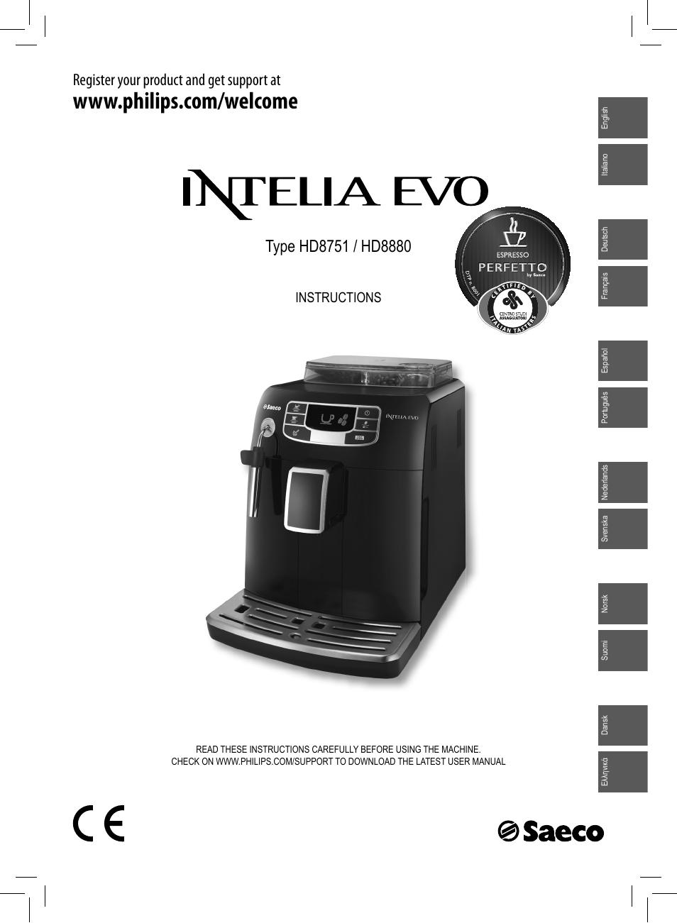 philips saeco intelia evo machine espresso super automatique user rh manualsdir com Philips TV User Manual Philips TV Manual