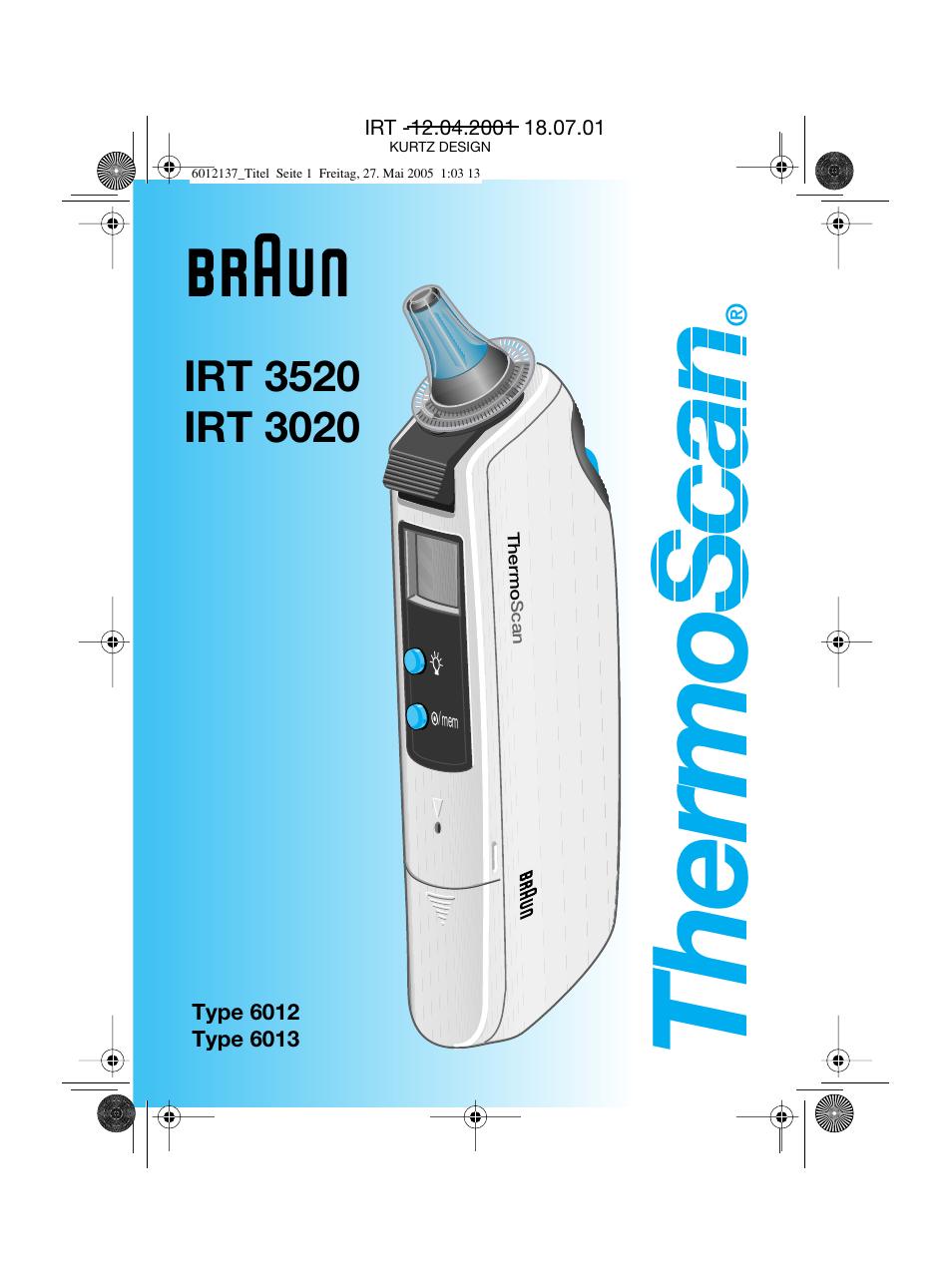 Braun Thermoscan Irt 3020 Instructions