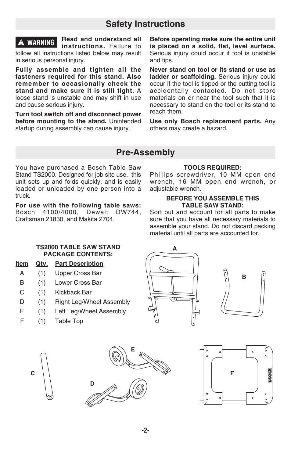 Pre-assembly safety instructions, Warning | Bosch TS2000
