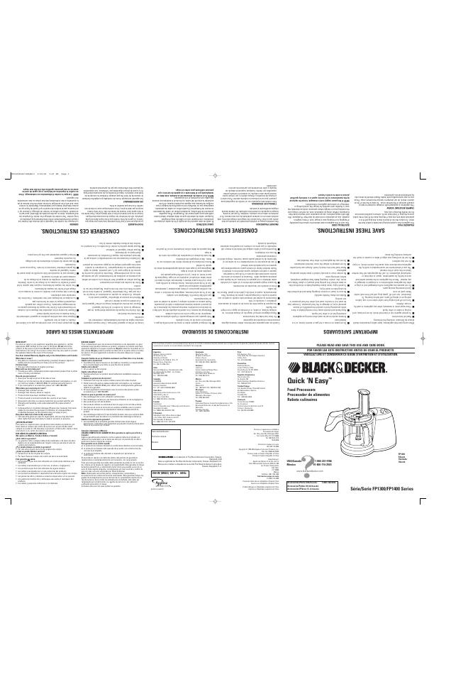 Black  U0026 Decker Quick  U0026 39 N Easy Fp1300 User Manual