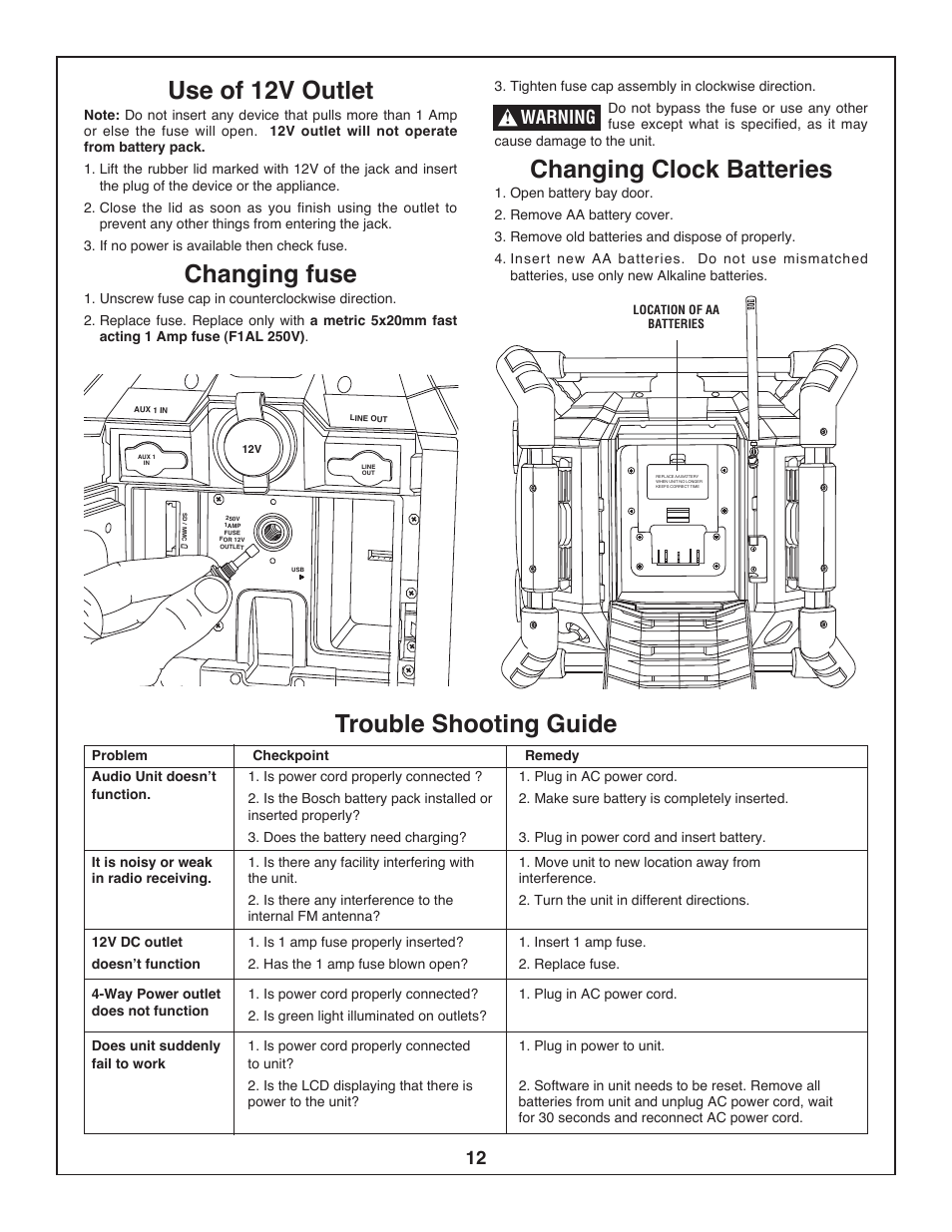 Use Of 12v Outlet Changing Fuse Clock Batteries Bosch Diagram Pb360s User Manual Page 12 40