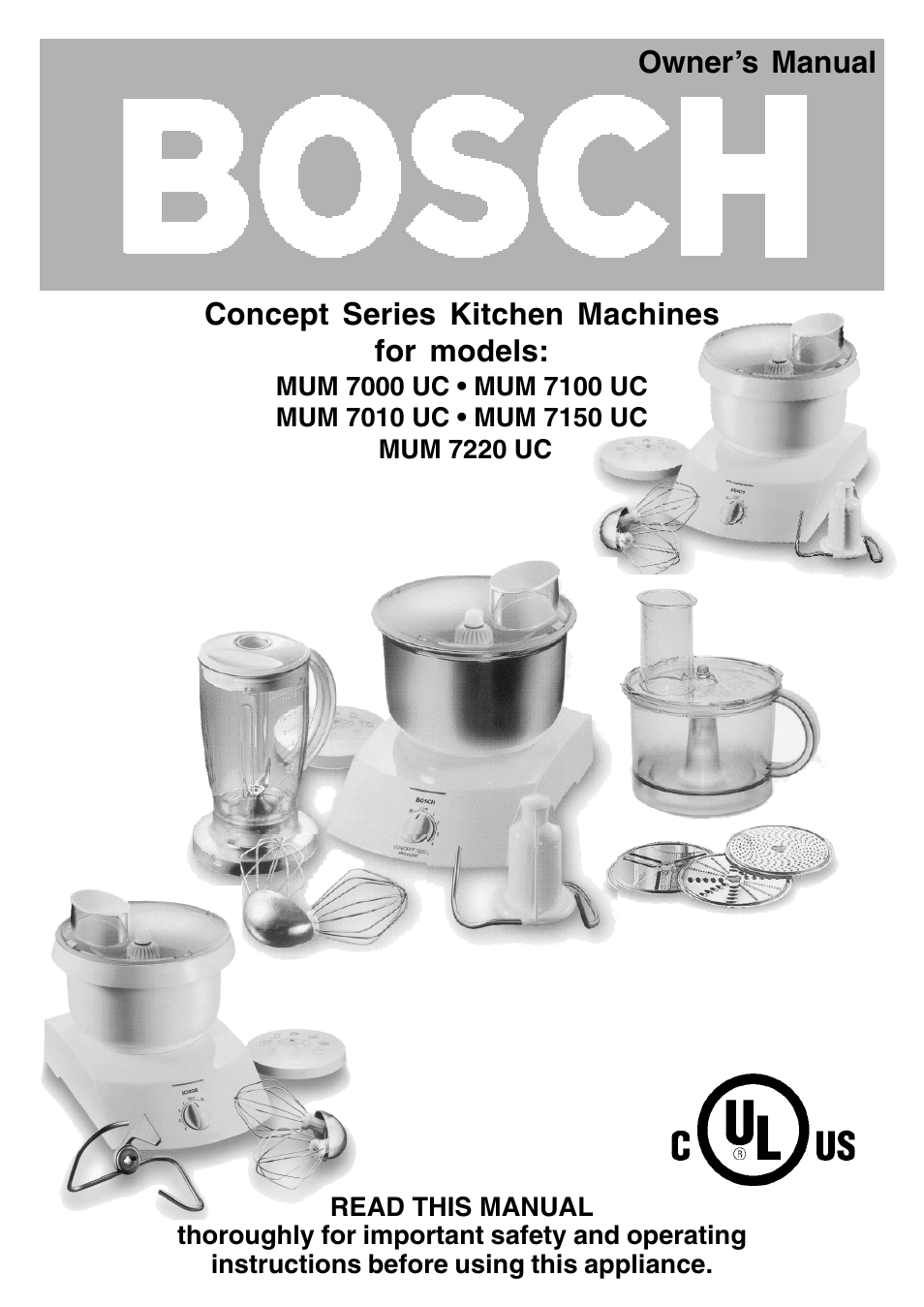bosch mum 7000 uc user manual 32 pages also for mum. Black Bedroom Furniture Sets. Home Design Ideas