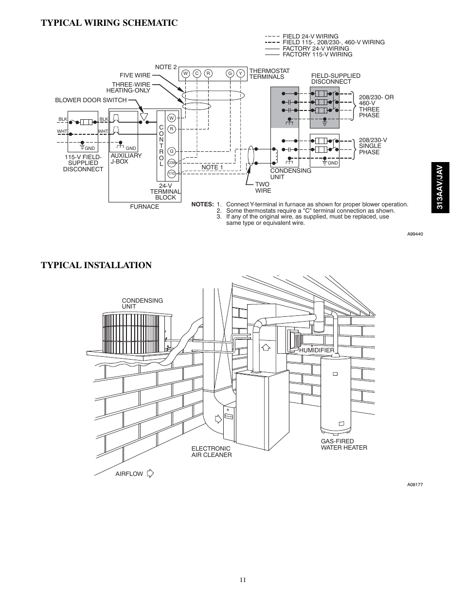 Typical Wiring Schematic Installation Bryant 313aav Jav Humidifier Diagram User Manual Page 11 12