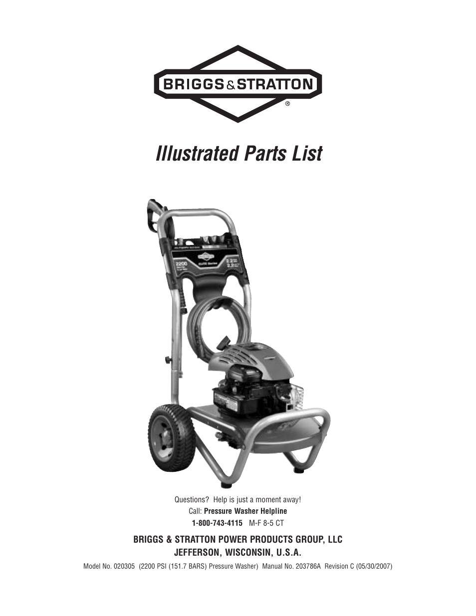 Briggs Stratton 20305 User Manual 3 Pages And Engine Diagram Parts List For