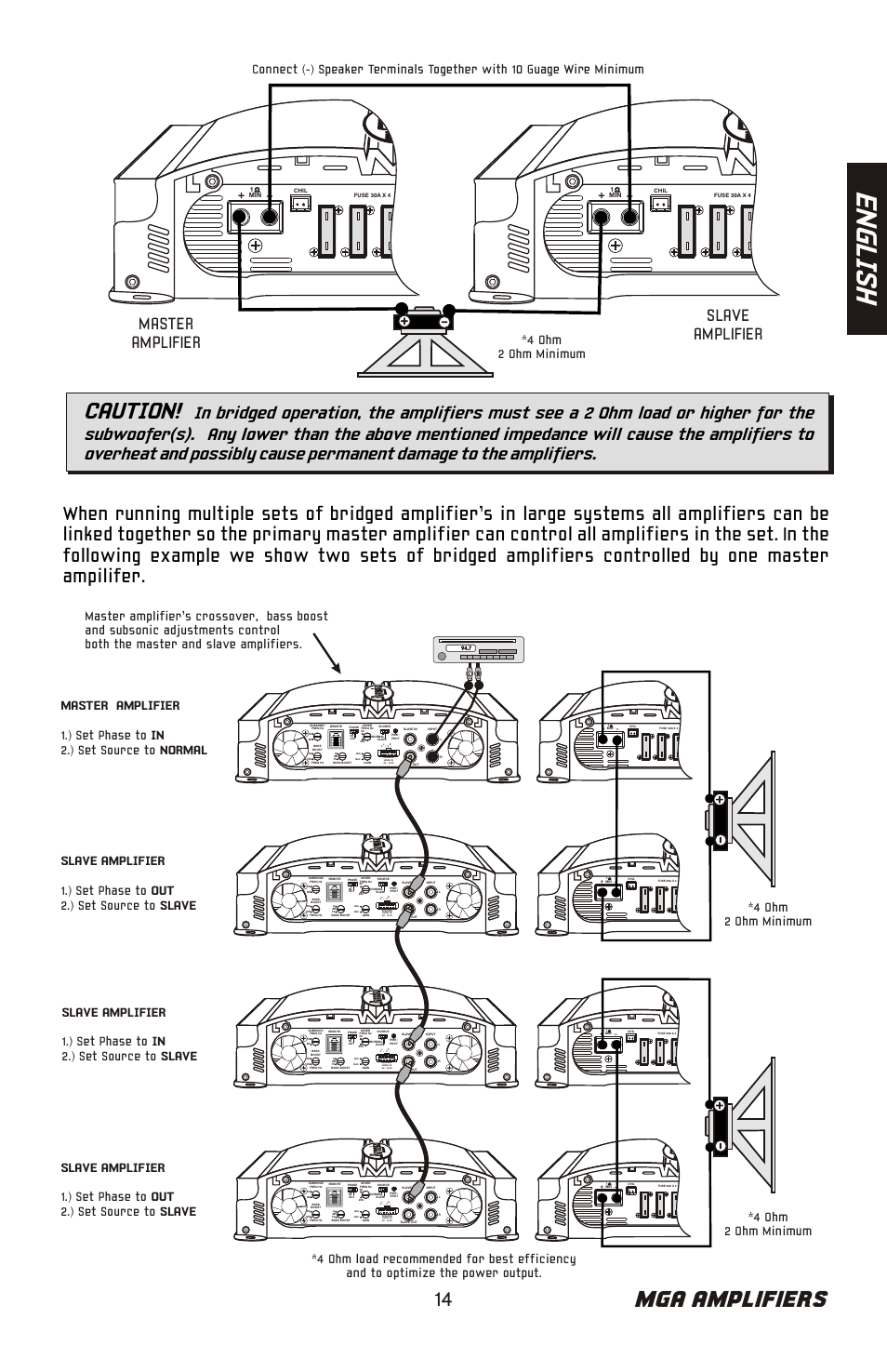 Bazooka Amp Wiring Diagram En Gl Is H Mga Amplifiers Caution Phat Tuesday Mga11500h Master Amplifier Slave