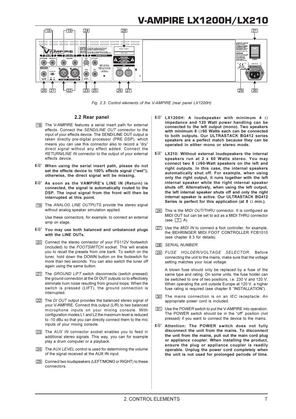 Behringer V-AMPIRE LX1200H/LX210 User Manual | Page 7 / 19 ... on yamaha sx190, yamaha fx cruiser ho, yamaha ar192,