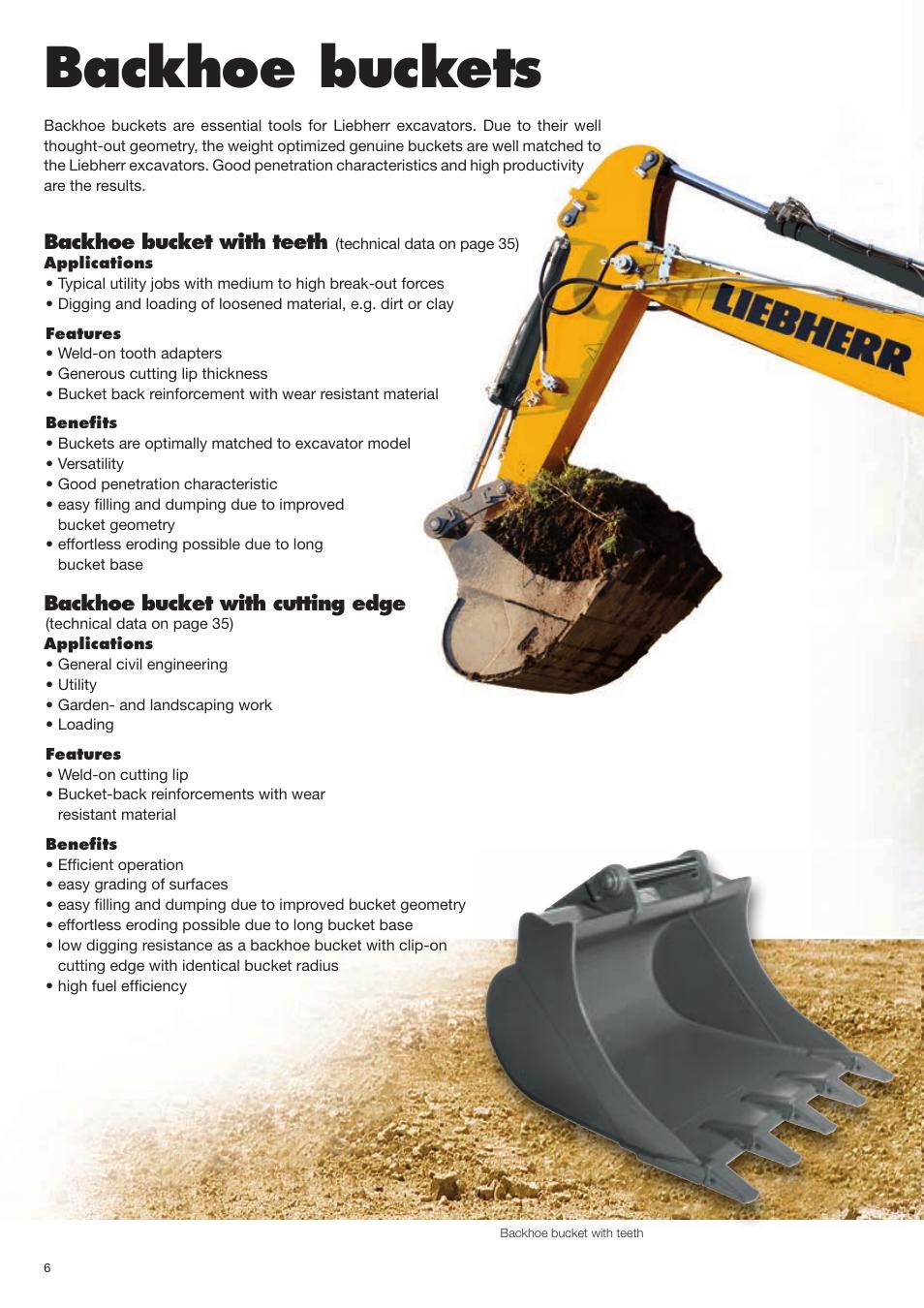 Backhoe buckets   Liebherr Face shovel User Manual   Page 6 / 40